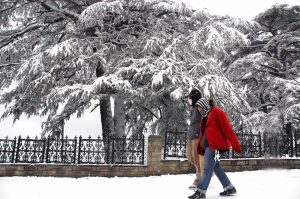 manali snowfall couple